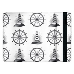 Marine Nautical Seamless Pattern With Vintage Lighthouse Wheel Samsung Galaxy Tab Pro 12 2  Flip Case