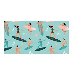 Beach Surfing Surfers With Surfboards Surfer Rides Wave Summer Outdoors Surfboards Seamless Pattern Satin Wrap