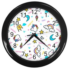 Unicorns Rainbows Seamless Pattern Wall Clock (black)