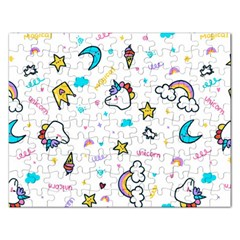 Unicorns Rainbows Seamless Pattern Rectangular Jigsaw Puzzl