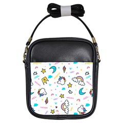 Unicorns Rainbows Seamless Pattern Girls Sling Bag