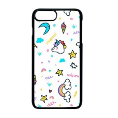 Unicorns Rainbows Seamless Pattern Iphone 7 Plus Seamless Case (black)