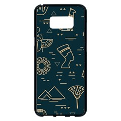 Dark Seamless Pattern Symbols Landmarks Signs Egypt Samsung Galaxy S8 Plus Black Seamless Case