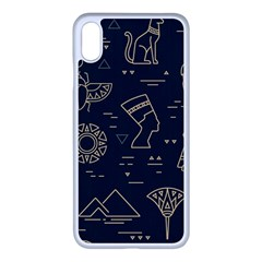 Dark Seamless Pattern Symbols Landmarks Signs Egypt Iphone Xs Max Seamless Case (white)