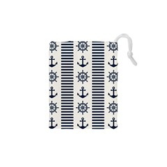 Nautical Seamless Pattern Vector Illustration Drawstring Pouch (xs)