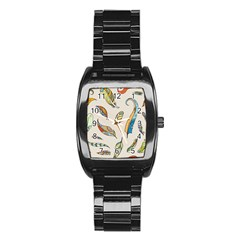 Vector Boho Doodle Feathers Seamless Pattern Illustration Stainless Steel Barrel Watch