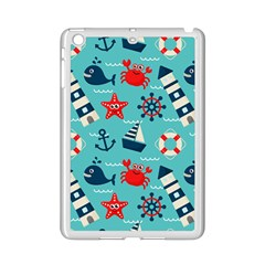 Seamless Pattern Nautical Icons Cartoon Style Ipad Mini 2 Enamel Coated Cases by Wegoenart