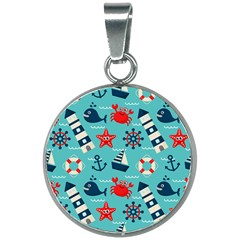 Seamless Pattern Nautical Icons Cartoon Style 20mm Round Necklace