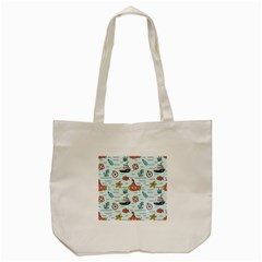 Cartoon Nautical Seamless Background Tote Bag (cream) by Wegoenart
