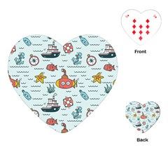 Cartoon Nautical Seamless Background Playing Cards Single Design (heart)