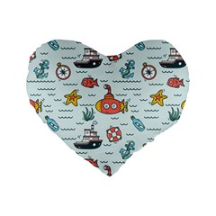 Cartoon Nautical Seamless Background Standard 16  Premium Heart Shape Cushions