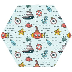 Cartoon Nautical Seamless Background Wooden Puzzle Hexagon