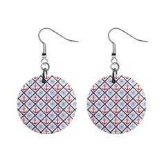 Seamless Pattern With Cross Lines Steering Wheel Anchor Mini Button Earrings