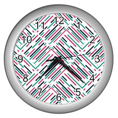 Abstract Colorful Pattern Background Wall Clock (silver) by Wegoenart