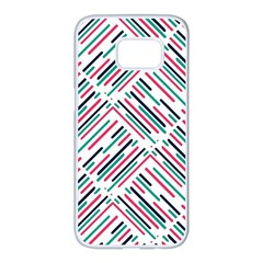 Abstract Colorful Pattern Background Samsung Galaxy S7 Edge White Seamless Case