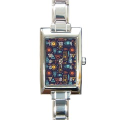 Trendy African Maya Seamless Pattern With Doodle Hand Drawn Ancient Objects Rectangle Italian Charm Watch