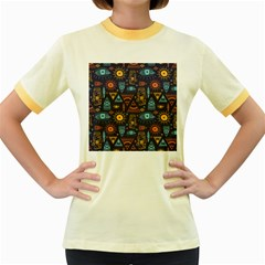 Trendy African Maya Seamless Pattern With Doodle Hand Drawn Ancient Objects Women s Fitted Ringer T Shirt