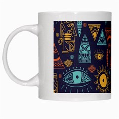 Trendy African Maya Seamless Pattern With Doodle Hand Drawn Ancient Objects White Mugs