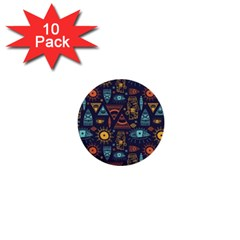 Trendy African Maya Seamless Pattern With Doodle Hand Drawn Ancient Objects 1  Mini Buttons (10 Pack)