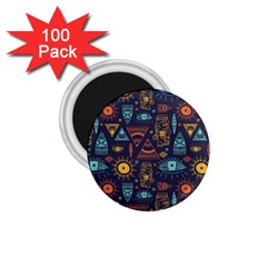 Trendy African Maya Seamless Pattern With Doodle Hand Drawn Ancient Objects 1 75  Magnets (100 Pack)