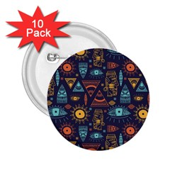 Trendy African Maya Seamless Pattern With Doodle Hand Drawn Ancient Objects 2 25  Buttons (10 Pack)