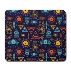 Trendy African Maya Seamless Pattern With Doodle Hand Drawn Ancient Objects Large Mousepads