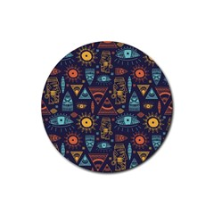 Trendy African Maya Seamless Pattern With Doodle Hand Drawn Ancient Objects Rubber Round Coaster (4 Pack)