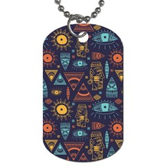 Trendy African Maya Seamless Pattern With Doodle Hand Drawn Ancient Objects Dog Tag (two Sides)