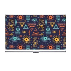 Trendy African Maya Seamless Pattern With Doodle Hand Drawn Ancient Objects Business Card Holder