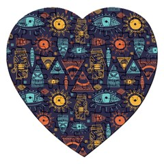 Trendy African Maya Seamless Pattern With Doodle Hand Drawn Ancient Objects Jigsaw Puzzle (heart)