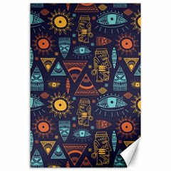 Trendy African Maya Seamless Pattern With Doodle Hand Drawn Ancient Objects Canvas 24  X 36