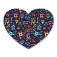 Trendy African Maya Seamless Pattern With Doodle Hand Drawn Ancient Objects Heart Mousepads