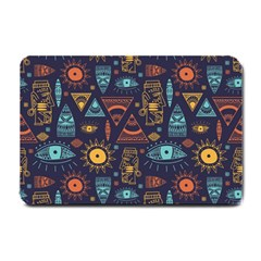 Trendy African Maya Seamless Pattern With Doodle Hand Drawn Ancient Objects Small Doormat