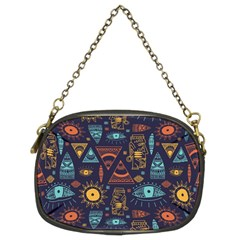 Trendy African Maya Seamless Pattern With Doodle Hand Drawn Ancient Objects Chain Purse (two Sides)