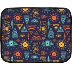 Trendy African Maya Seamless Pattern With Doodle Hand Drawn Ancient Objects Fleece Blanket (mini)