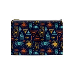 Trendy African Maya Seamless Pattern With Doodle Hand Drawn Ancient Objects Cosmetic Bag (medium)