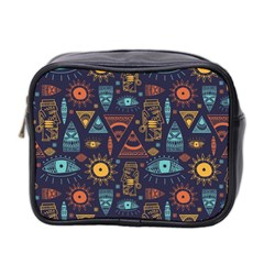 Trendy African Maya Seamless Pattern With Doodle Hand Drawn Ancient Objects Mini Toiletries Bag (two Sides)