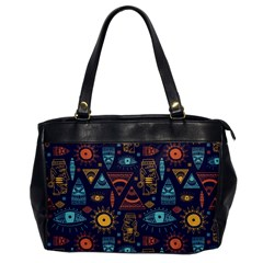 Trendy African Maya Seamless Pattern With Doodle Hand Drawn Ancient Objects Oversize Office Handbag