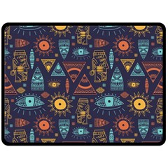 Trendy African Maya Seamless Pattern With Doodle Hand Drawn Ancient Objects Fleece Blanket (large)