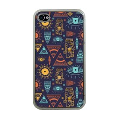 Trendy African Maya Seamless Pattern With Doodle Hand Drawn Ancient Objects Iphone 4 Case (clear)