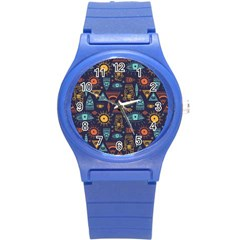 Trendy African Maya Seamless Pattern With Doodle Hand Drawn Ancient Objects Round Plastic Sport Watch (s)