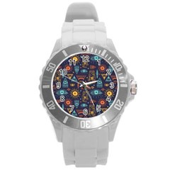 Trendy African Maya Seamless Pattern With Doodle Hand Drawn Ancient Objects Round Plastic Sport Watch (l)