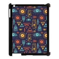 Trendy African Maya Seamless Pattern With Doodle Hand Drawn Ancient Objects Apple Ipad 3/4 Case (black)