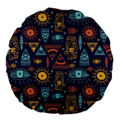 Trendy African Maya Seamless Pattern With Doodle Hand Drawn Ancient Objects Large 18  Premium Round Cushions