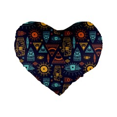 Trendy African Maya Seamless Pattern With Doodle Hand Drawn Ancient Objects Standard 16  Premium Heart Shape Cushions