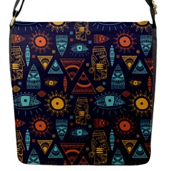 Trendy African Maya Seamless Pattern With Doodle Hand Drawn Ancient Objects Flap Closure Messenger Bag (s)