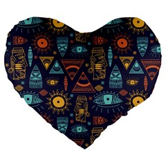 Trendy African Maya Seamless Pattern With Doodle Hand Drawn Ancient Objects Large 19  Premium Flano Heart Shape Cushions