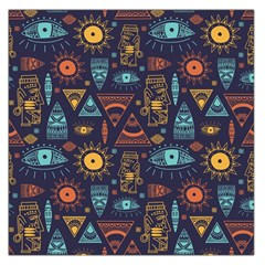 Trendy African Maya Seamless Pattern With Doodle Hand Drawn Ancient Objects Large Satin Scarf (square)