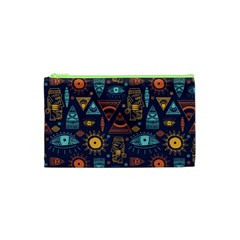 Trendy African Maya Seamless Pattern With Doodle Hand Drawn Ancient Objects Cosmetic Bag (xs) by Wegoenart