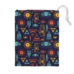Trendy African Maya Seamless Pattern With Doodle Hand Drawn Ancient Objects Drawstring Pouch (xl)